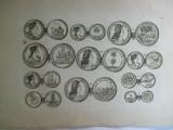 Gravura circa 1820 monede Ungaria Imparatul Carol VI Imparateasa Elisabeta Cristina