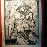 Gravura -Barbat sezand, semnata, 26, 3x35 cm - Pictor roman