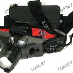 Lanterna frontala zoom LED CREEE, acumulator-113363