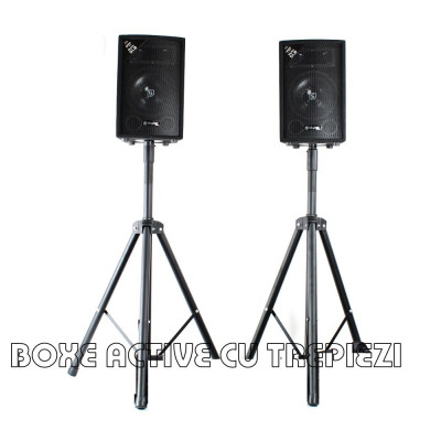 2 BOXE ACTIVE/AMPLIFICATE,250 WATT,MP3 PLAYER,MIXER, STICK USB+2 TREPIEZI.NOI. foto