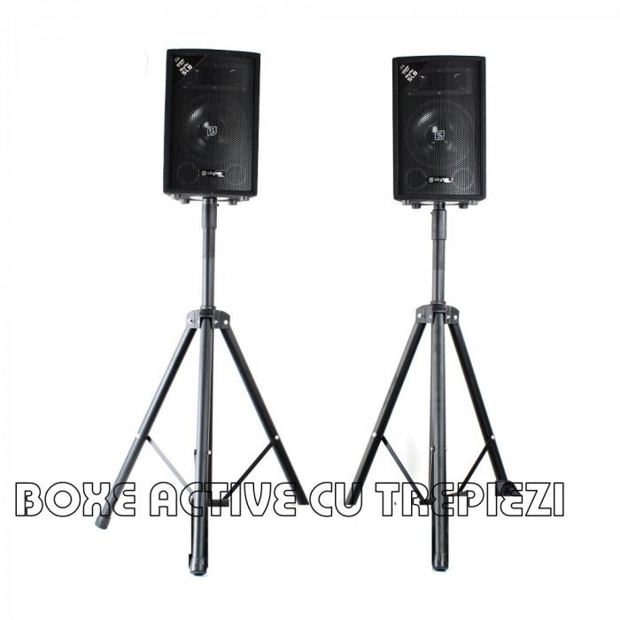 2 BOXE ACTIVE/AMPLIFICATE,250 WATT,MP3 PLAYER,MIXER, STICK USB+2 TREPIEZI.NOI.
