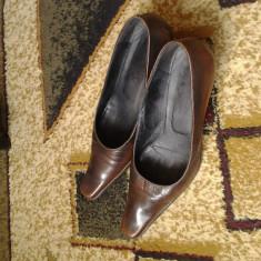 Pantofi dama piele - Pantof dama Made in Italia, Culoare: Maro, Marime: 39, Maro