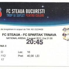 Bilet de meci-FC Steaua Bucuresti-FC Spartak Trnava 2 august 2012 - Bilet meci