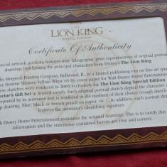 Editie speciala pentru colectie The LION KING - desene ( litografie ) Disney cu certificat !!!! - Pasaport/Document