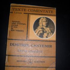 Texte comentate, Dimitrie Cantemir, Istoria ieroglifica, de ion Verdes