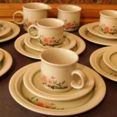 Set / Serviciu- ceai / cafea / desert / farfurii - portelan englezesc - Coloroll - 6 persoane - Ceasca