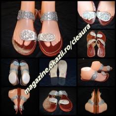 PAPUCI FLIP FLOPS DAMA PIELE NATURALA ARGINTIE HAND MADE INDIA PAIETE ARGINTII - Papuci dama, Culoare: Argintiu, Marime: 38