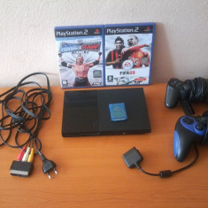 PlayStation 2 Slim Nemodat + 2 manete + 2 jocuri originale + Card de memorie Sony 8MB