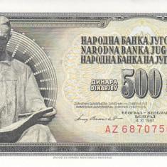 Bancnota Iugoslavia 500 Dinari 1981 - P91b UNC