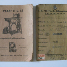 REDUCERE 20 LEI! RARE! CERTIFICAT DE GARANTIE,INSTRUCTIUNI UTILIZARE SI PASAPORTUL UNEI MASINI GERMANE DE CUSUT MARCA PFAFF DIN 1938