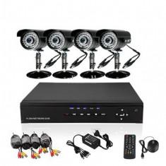 KIT COMPLET 4 CAMERE CCTV INT./EXT.+ DVR CU INTERNET D1,INFRAROSU,CABLURI,ACCESORII., Exterior, Cu fir, Color