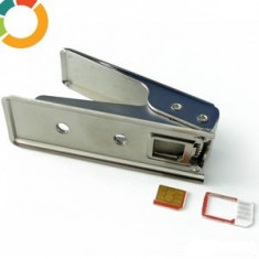 Aparat Capsator Cutter Cuter Decupat Taiat Cartela SIM in MICROSIM / MICRO SIM pentru Telefon iPhone 4 / 4S, Samsung Motorola HTC Acer si iPad