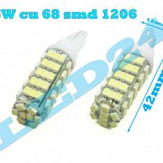 LED-URI AUTO BEC LED - W5W T10 68 SMD POZITIE, PLAFONIERA, NUMAR, ALB XENON, Universal, Houde