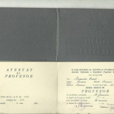 ATESTAT DE PROFESOR - R.P.R., 1958 - Pasaport/Document