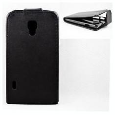 Husa Piele neagra flip LG Optimus L7 II 2 Duos p715 p710 + folie protectie ecran - Husa Telefon