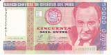 Bancnota Peru 50.000 Intis 1988 - P142 UNC