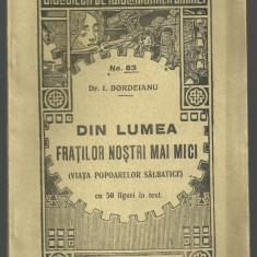 I.Bordeianu / VIATA POPOARELOR SALBATICE -1928(Bibl. de popularizarea stiintei)