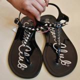 Sandale de guma cu tinte - Sandale dama, Culoare: Negru, Marime: 38.5, Negru