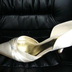 Pantofi mireasa ivory 39-40 Next, incaltati 1 ora in biserica, absolut superbi - Pantof dama, Culoare: Ivoire