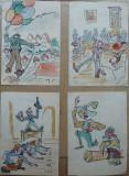 Cumpara ieftin 4 caricaturi , tipuri de Rascu Gelu , pictor C-lung Moldovenesc, Bucovina, Scene gen, Cerneala, Impresionism