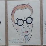 3 caricaturi, tipuri din Campulung Moldovenesc de Rascu Gelu, pictor consacrat din Campulung Moldovenesc, Bucovina, originar din Chisinau, Basarabia - Pictor strain