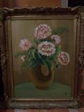 TABLOU / PICTURA CU RAMA VECHE, ULEI PE PANZA, SEMNAT