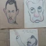 3 caricaturi de Rascu Gelu, pictor din C-lung Moldovenesc, Bucovina - Pictor strain, Portrete, Cerneala, Impresionism