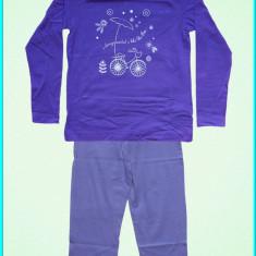 NOI _ Pijama / pijamale bumbac, pantaloni lungi, TEX _ fetite | 3-4 ani | 104 cm, Marime: Alta, Culoare: Mov, Fete