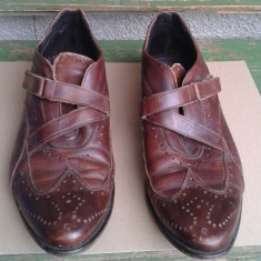 Pantofi piele marimea 46, OKAZIE - Pantofi barbat, Piele naturala, Maro, Casual