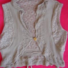Bolero top brand Vila tricotat gri taupe - Vesta dama Vila, Marime: 36