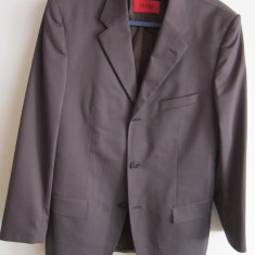 Sacou barbati HUGO BOSS, marimea 48, original, maro, cambrat, slim fit - DE SUPER CLASA!!!, 3 nasturi, Normal, Poliester