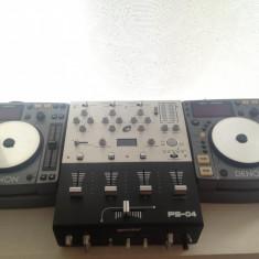 Kit complet DJ 2* Playere DENON DN S100, 1* Mixer GEMINI PS-04, 1* Casti PIONEER SE-M280 - Console DJ