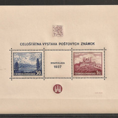 Cehoslovacia.1937 Expozitia filatelica BRATISLAVA-Bl. SC.322