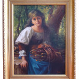 Pictura / ulei pe panza 40x30cm (fara rama) - Pictor roman, Portrete, Realism