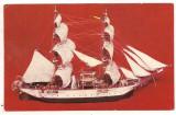 Carte postala(ilustrata) -MUZEUL MARINEI ROMANE-Bricul Mircea prima nava scoala cu vele si masina a marinei romane 1882 macheta