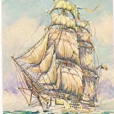Carte postala(ilustrata) -NAVROM-Bricul Mircea pictura de Valentin Donici