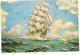Carte postala(ilustrata) -MUZEUL MARINEI ROMANE-Bricul Mircea pictura  de Valentin Donici