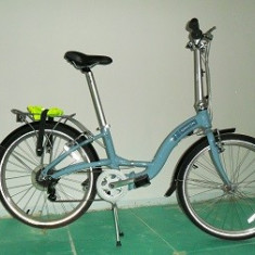 Bicicleta dahon briza D7 frumoasa - Bicicleta pliabile Dahon, 12 inch, 24 inch, Numar viteze: 7, Aluminiu, Alb-Albastru