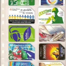 Lot 10 cartele telefonice Italia, Crucea Rosie, L'OREAL, Mos Craciun, Pocahontas, etc. - lot colectie