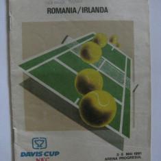 PRODUSUL A FOST REDUS CU 50 LEI! PROGRAM DAVIS CUP ROMANIA-IRLANDA DIN 1991 CU AUTOGRAFELE LUI A.PAVEL, OWEN CASEY SI MATT DOYLE