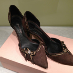 PANTOFI GIORGIO ARMANI, PIELE INTOARSA MARO, 37 - Pantof dama, Marime: 37.5, Cu toc