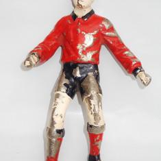 STATUETĂ DIN BRONZ NICHELAT ȘI PICTAT, SPORTIV - FOTBALIST, VECHE - 1960, 2 KG! - Miniatura Figurina