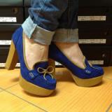Pantofi - Pantof dama, Culoare: Albastru, Negru, Marime: 38