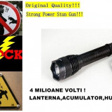 ELECTROSOC FULL METAL, PUTERE 4 MILIOANE VOLTI, LANTERNA+ACUMULATOR+HUSA., Cu lanterna