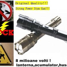 NOU! ELECTROSOC AUTOAPARARE FULL METAL,4 MILIOANE VOLTI,ACUMULATOR,HUSA., Cu lanterna