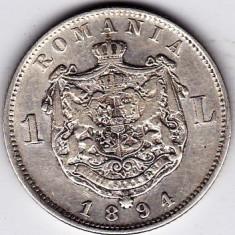 3)Moneda argint 1 leu 1894 - Moneda Romania