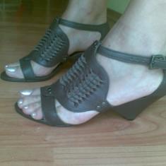 Sandale ZARA din piele marimea 37, sunt noi! - Sandale dama Zara, Culoare: Maro, Maro