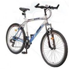 Bicicleta DHS Adventure - Mountain Bike DHS, 26 inch, Numar viteze: 21, Otel, Alb-Albastru, V-brake