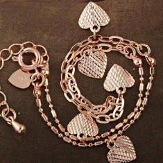 Bratara cu pandantive inimioare filata / placata cu aur roz 14k gold filled - Bratara placate cu aur Swarovski, Femei