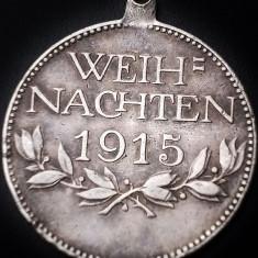 RARĂ! MEDALIE SPITAL MILITAR, CRĂCIUN, 1915 WWI, WEIH-NACHTEN, ARGINT - 9 GRAME! - Ordin/ Decoratie, Europa